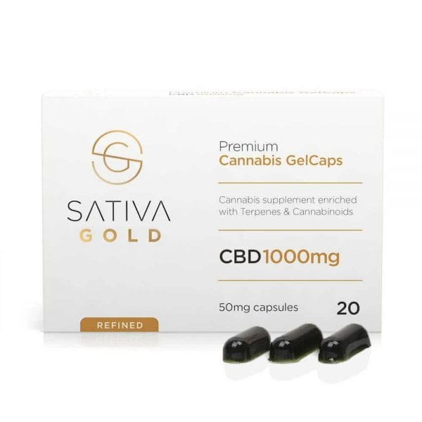 sativa gold cbd oil gelcaps refined 20x50mg 1000mg